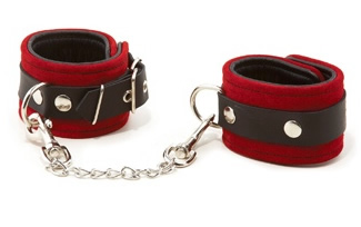Red Suede Leather Wrist Cuffs